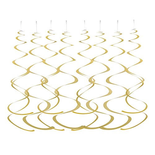 MOWO Gold Hanging Swirl Decorations for Ceiling, Pack of 28