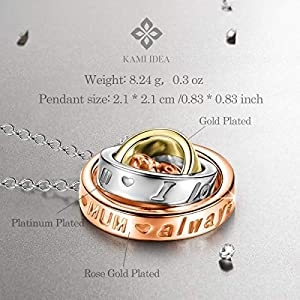 Kami Idea Necklace, Trinity, Three Rings Pendant, Crystal from Swarovski, Rose Gold, Women Jewellery, Gift Package – You are The Brightest Star in My Universe