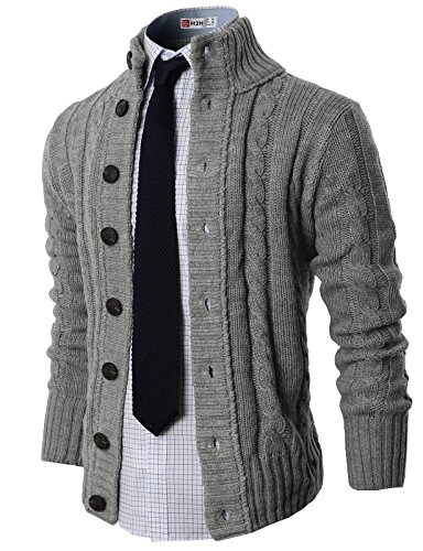H2H Mens High Neck Twisted Knit Cardigan Sweater With Button Details, GRAY US M/ASIA L (KMOCAL020) by H2H