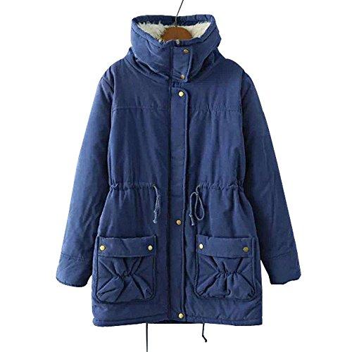 lana mujeres de Abrigo las de piel chaqueta de de con cálido Blue de abrigo sintética invierno de invierno capucha 77TFxr