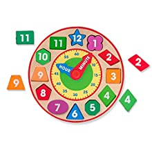Melissa & Doug Shape Sorting Clock (Developmental Toy, Sturdy Wooden Construction, Develop Time-Telling Skills, Great Gift for Girls and Boys - Best for 3, 4, 5, and 6 Year Olds)