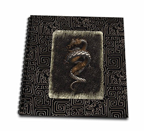 3dRose db_220530_2 Ancient Dragon Look on Chinese Design Dark Brown Gold and Tan Memory Book, 12