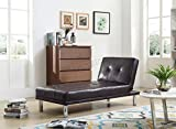 WestWood Modern Luxury Chaise Longue Single Sofa Bed 1 Seater Couch Small Guest Sleeper Convertible Chair Faux Leather Living Room Furniture PSB03 Brown