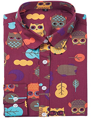 (DOKKIA Women's Fashion Tops Feminine Long Sleeve Button Down Work Casual Dress Blouses Shirts (Large, Burgundy Red Owl Bird))