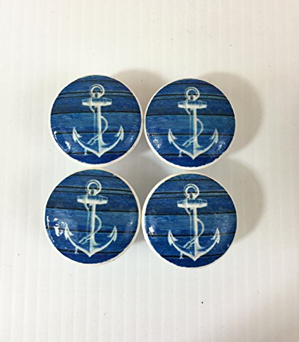 Set of 4 Blue Weathered Wood and White Anchor Print Cabinet Knobs