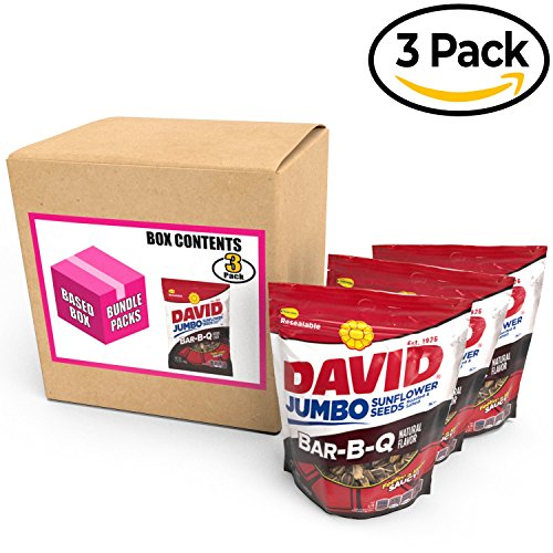 David Jumbo Sunflower Seeds Flavored 5.25 Ounce Bags. Roasted & Salted Davids Flavor Sun Flower Bulk Seed Packs Come Pre-Bundled and Branded by BASED BOX (BBQ, Pack of 3) (Grow Sunflower Bucket)