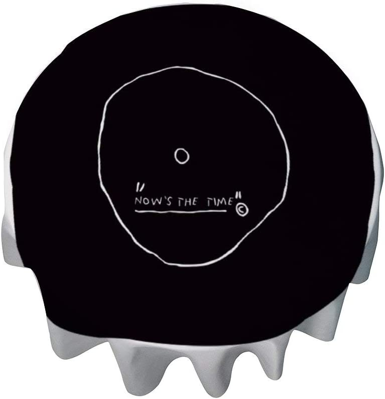 yyone Tablecloth Round 50 Inch Fashion Circle Table Cover Now S The Time Basquiat Table Cloth Decor for Buffet Table, Parties, Holiday Dinner, Wedding