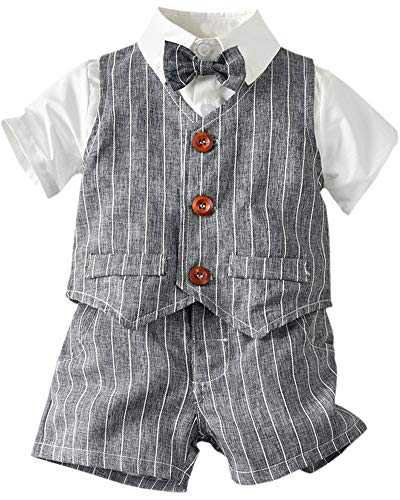 Toddler Boy Dress Clothes 3 Piece Vest Clothes Set, Baby Boys Bow Tie Outfit Clothes Suits, Little Boys Short Sleeve Button Down Shirt with Shorts Formal Dresswear, L01#L01#Grey, 4-5 Years=Tag 130