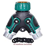 Bamos Water Hose splitter Full Metal Body for Outdoor Faucet Sprinkler and Drip Systems of 2 Ways Ball Valve Garden Water Hose Y Connector for Your Garden