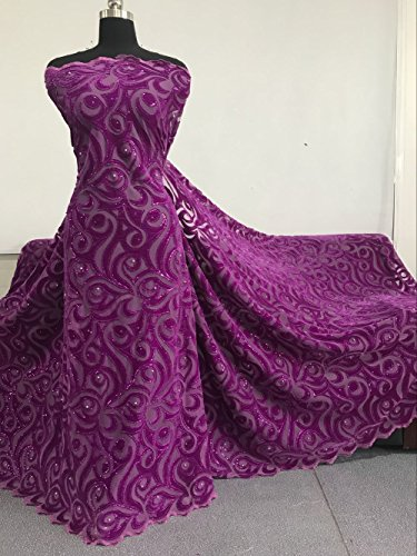 5 Yards African Fabric,African Lace Net Fabrics Embroidered Cord Lace for Party Wedding,for Making a Beautiful Dress (Magenta)