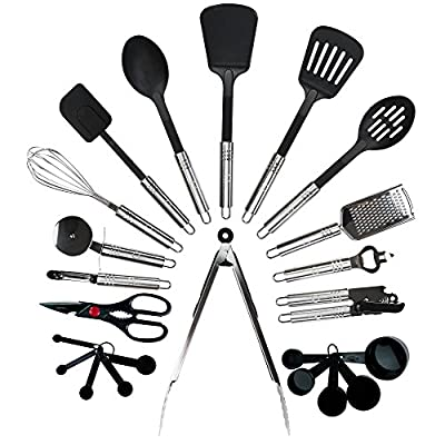 Qualikitchen Premium Cooking kitchen Utensil Set: 23 Pieces of Tools Made of Lightweight Stainless Steel and Strong Black Nylon plus Printed Guide from Qualigifts