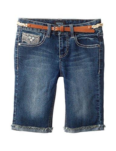 Squeeze Big Girl's Braided Belt Embroidered Bermuda Shorts, Aranda One Wash (14)