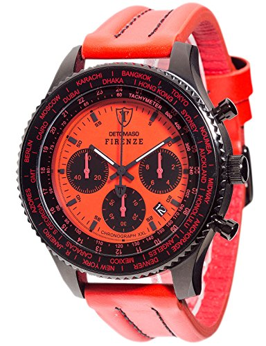 DETOMASO Men's Quartz Stainless Steel and Leather Casual Watch, Color:Red (Model: DT1045-C)