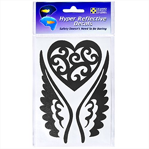 Seward Street Studios Reflective Decals Heart and Wings Set - Winged Heart Safety Sticker Kit - Tribal Tattoo Reflector Stickers