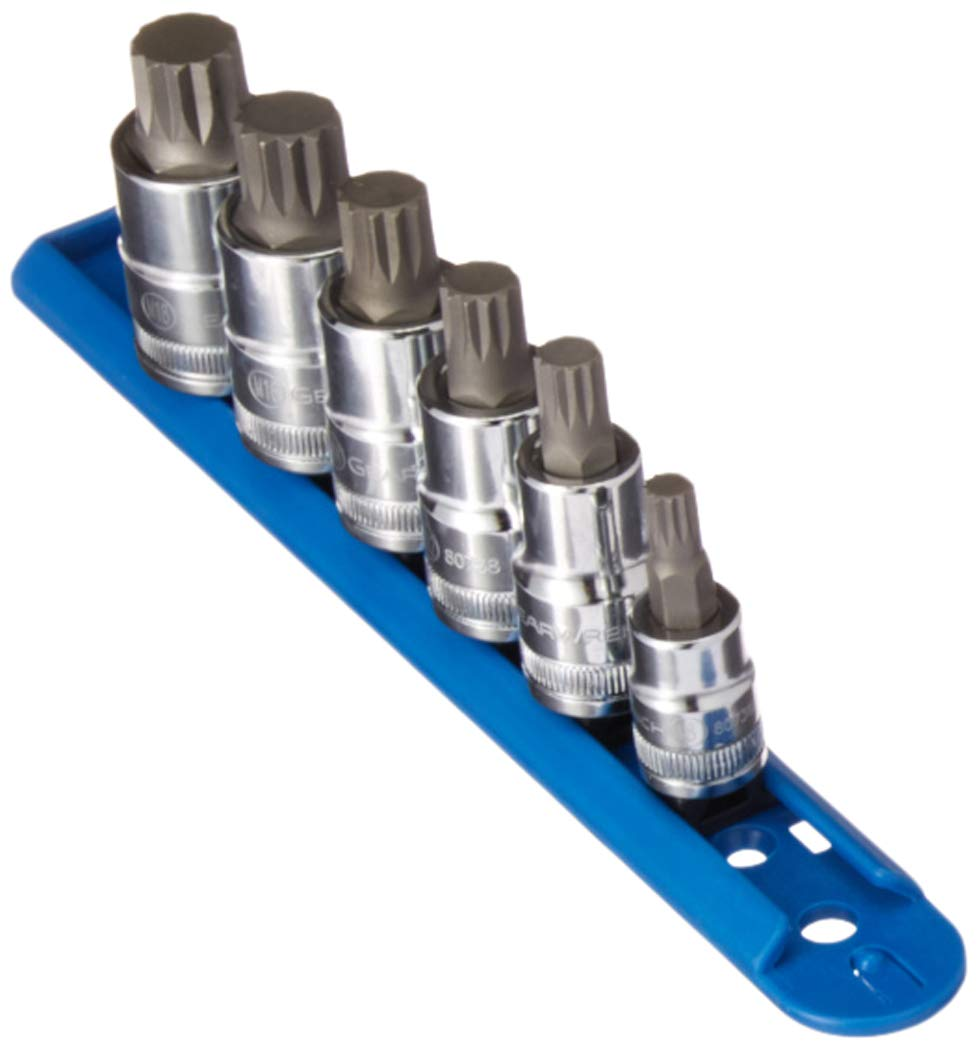 GearWrench 80744 6 Pc 3//8 and 1//2 Drive Metric Triple Square Stubby Bit Soc