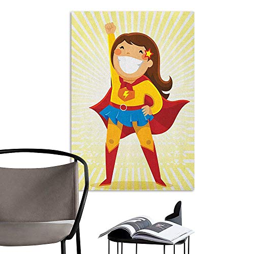 Jaydevn Self Adhesive Wallpaper for Home Bedroom Decor Superhero Courageous Little Girl with a Big Smile in Costume Standing in a Heroic Position Multicolor Room Bedside W20 x H28