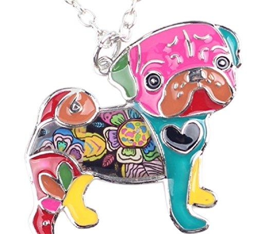 Enamel Pug Dog/Cute Puppy/Daschunds/Poodle/German Shepherd Choker Necklace Chain Collar (Cute Pug) (Toy Pug Dog)