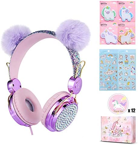 Charlxee Kids Pom Pom Headphones Glitter Bear Ear Volume Limiting Adjustable Cute Anime Wired Headphones for Girls Boys School-Purple