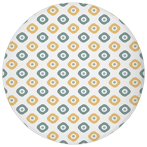 Round Rug Mat Carpet,Vintage,Stylish Evil Eye Bead Amulet Like Figures Cubical Rounded Dotted,Almond Green Apricot Mustard,Flannel Microfiber Non-slip Soft Absorbent,for Kitchen Floor - Round Dotted Bead