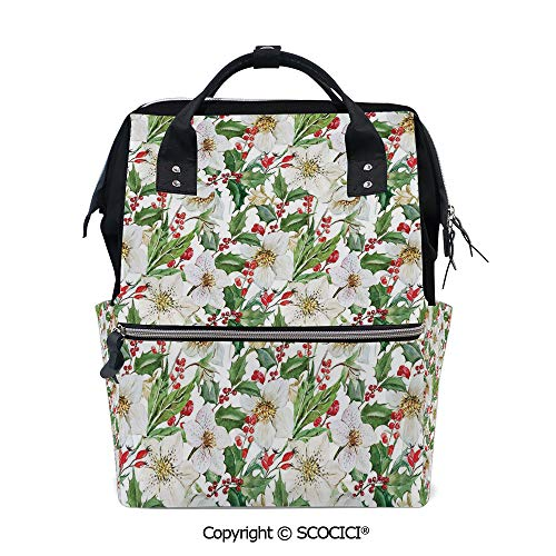 - SCOCICI Travel Backpack Women Carry On Bag,Christmas Themed Floral Poinsettia Winter Inspirations Berries Leaf,with Large-Capacity