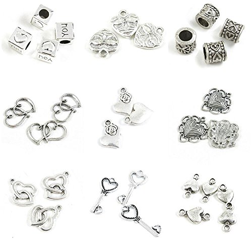30 Pieces Antique Silver Tone Jewelry Making Charms Heart Connector Love Skeleton Key Soulmate Double Hearts Surrounded Rose Dual Ring Loose Beads Cube