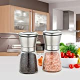 Limo Stainless Steel and Glass Body Salt and Pepper Grinder Set with Adjustable Ceramic Rotor