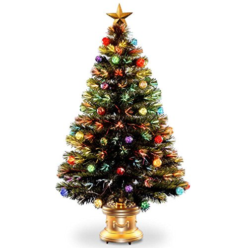 4' Pre-lit Potted Fiber Optic Artificial Christmas Tree with Firework Ball Ornaments – Multi Lights by National Tree Company
