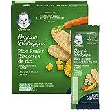 GERBER Organic Rice RUSKS Mango Banana Carrot, Baby Food, Snack, 7+ Months, 50 g (24 Rusks), 6 Pack
