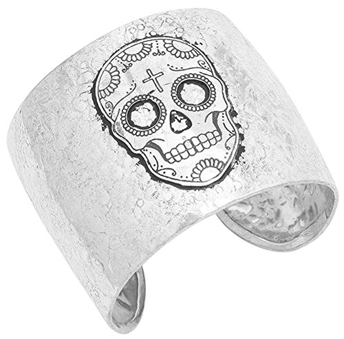 80's Costume Ideas Madonna (Silver Tone Textured Metal Sugar Skull Day of the Dead Inspired Cuff Bracelet for Teens, Women)