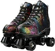 LEAFIS Roller Skates Classic High-top for Adult Outdoor Skating Light-Up Four-Wheel Roller Skates Shiny Roller