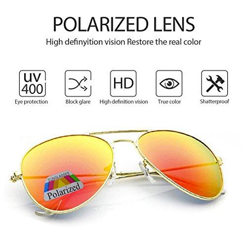 sol caso Hombre con UV gafas polarizado conducción de Protección de Aviador Orange el 4sold 400 ftvw8qHq