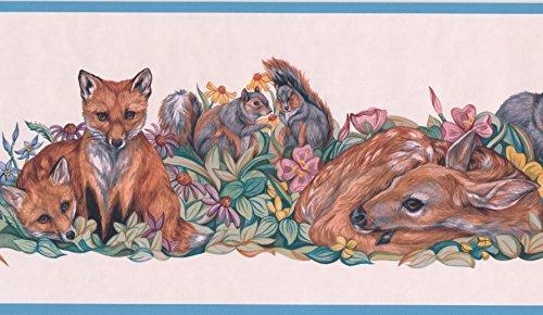 Deer Bunny Fox Coyote Squirrel Colorful Animal Wallpaper Border Retro Design, Roll 15' x 7'' - Animals Wallpaper Border