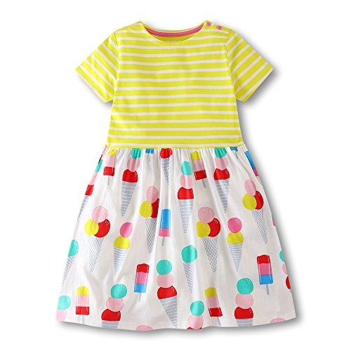 Jobakids Girls Dresses Short Sleeve Summer Cotton Striped Cute Print Casual Dress for Toddler(Yellow/3T) -