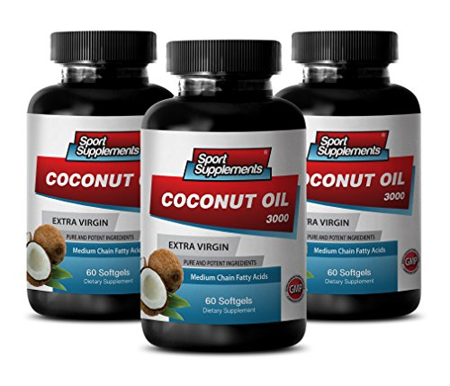 weight loss help - COCONUT OIL 3000MG EXTRA VIRGIN - coconut oil wilderness family naturals - 3 Bottles (180 Softgels)