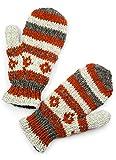 TCG Women's Hand Knit Wool Vintage Striped Mittens - Cinnamon & Cream
