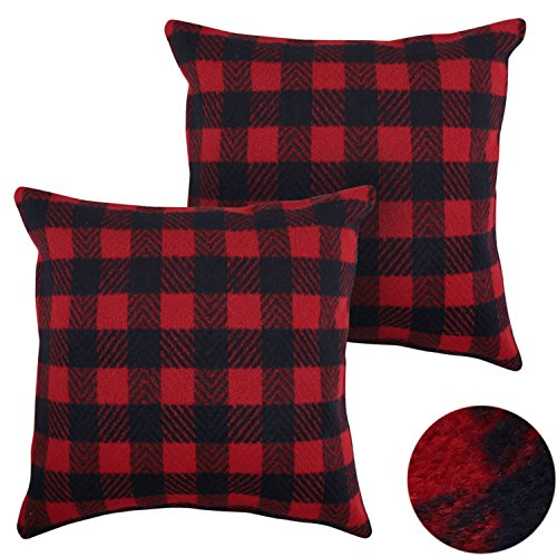 Deconovo Home Decorative Sofa Throw Pillowcases Scottish Tartan Plaid Throw Cushion Cover 18x18 Inch Red and Navy Blue A Set of 2 (Plaid Sofa Sets)