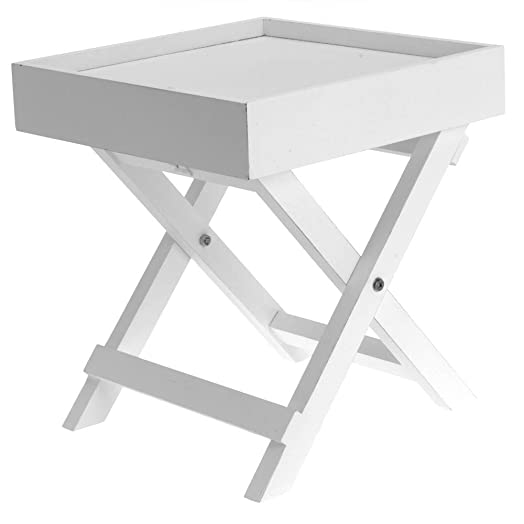 Small Side Table Wooden In White