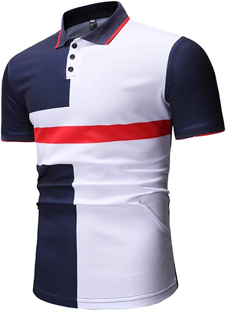 Usopu Mens Summer Casual Daily Sports Patchwork Embroidery Lapel Short Sleeve Polo Shirt