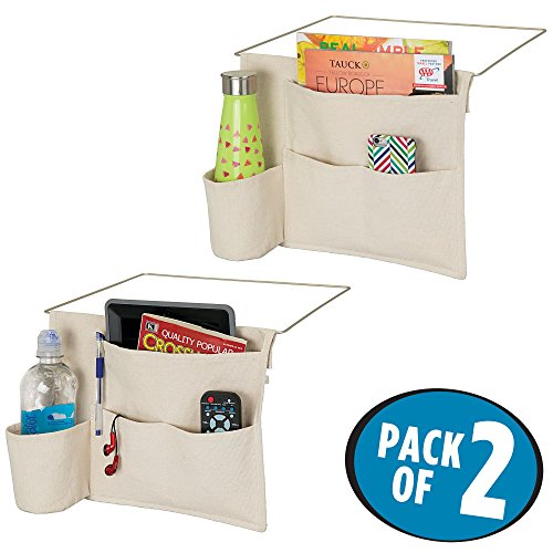mDesign Bedside Storage Organizer Caddy Pocket - Slim Space Saving Design, 4 Pockets - Heavy Cotton Canvas - Holds Water Bottles, Books, Magazines - Pack of 2, Cream/Wire Insert in Matte Satin