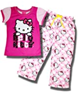 Hello Kitty two-tone pink with hearts Pajama set for Girls