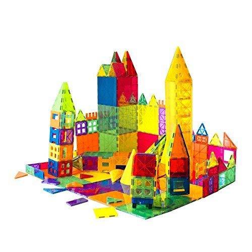 - Mag-Genius Award Winning building Magnet Tiles Toy Clear Colors 3D Brain Building Blocks Set With All New Cylinder Design True 3D Building Blocks 141 + 2 bonus Piece Set With Bonus Storage Bin