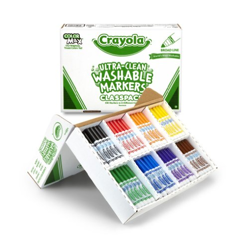 크래욜라 Crayola; Classpack; Ultra-Clean Broad Line Markers; Art Tools; 200 Markers in 8 Different Colors; Br