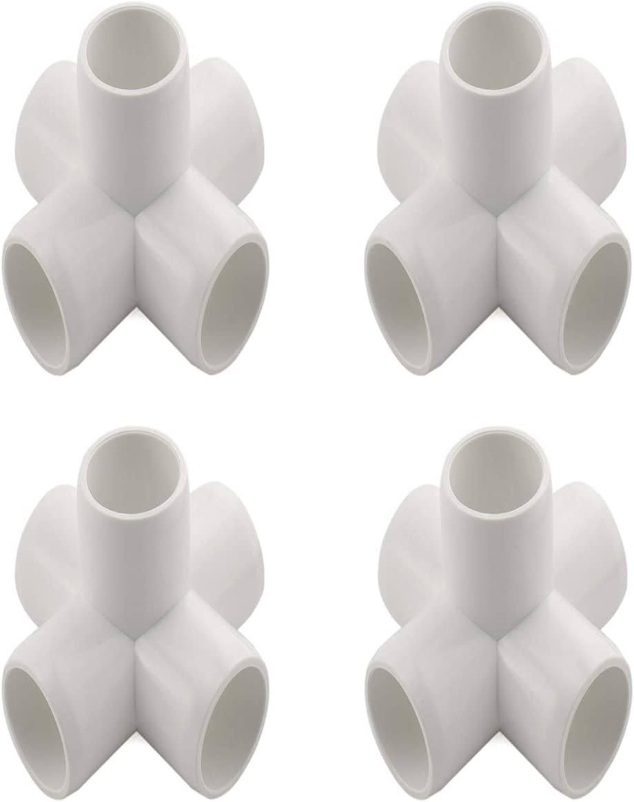 "SDTC Tech 4-Pack 3/4"" 5 Way PVC Fitting Elbow Furniture Grade Pipe Connector for DIY PVC Shelf Garden Support Structure Storage Frame, White"