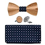 BMC Mens Walnut Wood Bow Tie with Matching Pocket Square and Cufflinks Fashion Suit Accessories - Set 4: Waves