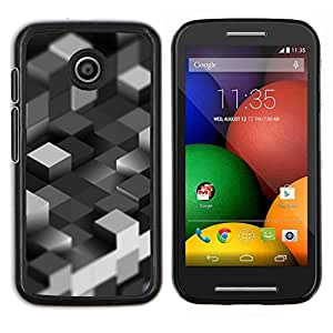 Qstar Arte & diseño plástico duro Fundas Cover Cubre Hard Case Cover para Motorola Moto E (Bloques grises)