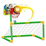 deAO Basketball and Football Stand Set 2in1 Sports Game for Kids - Soccer Goal, Basket and Balls Included, Green