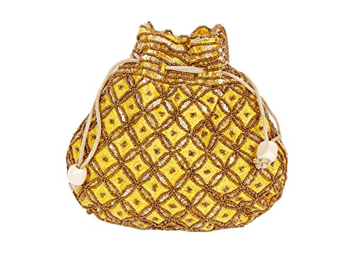 Indian sequence Potli Bag/ wedding purse/jewelery purse for girls & women (Base Color- Yellow) by Suman Enterprises