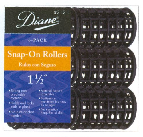 Diane 1 1/2″ Black Snap-On Rollers 6-Piece #2121