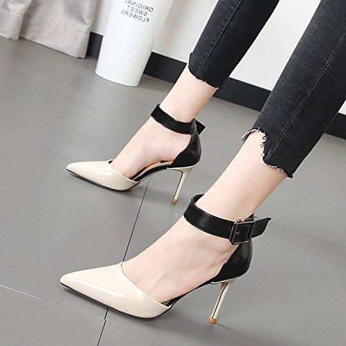 Xue Qiqi Frauen Schuhe Mode buchstabiere Farbe Farbe Farbe High-torque-Schuhe fein mit der Spitze des Licht der einzigen Schuhe Frauen 4bb118