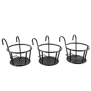 Iron Art Hanging Baskets Flower Pot Holder - HowRU Over The Rail Metal Fence Planters Assemble - Pack of 3 (Black)